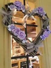 Shabby Chic Country Wicker Summer Hanging Wreath Lilac Roses Heart