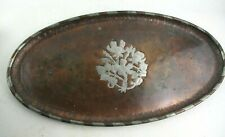 Antique Hugh Wallis Copper & Pewter Planished Oval Tray - Arts & Crafts