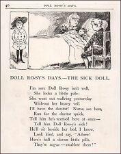Doll is Sick Needing Doctor, antique engraving, print, original 1884