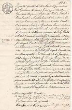 * 1841 documento (in Italiano) Circolare CACHET inchiostro essiccato da sabbia GRANI ultima pagina