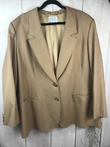 Vintage Pendleton Fully Lined Pure Wool Blazer Sz 22W Camel made in the USA Wome