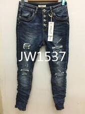 🍀JEWELLY Damen Baggy Jeans Hose Löcher unterlegt Risse Distressed 34 36 38 XS-M
