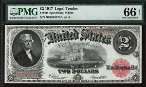 1917 Fr 60 $2 Red Seal Legal Tender Note GEM • PMG 66 EPQ • Only 2 Finer