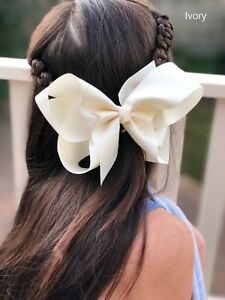 """6"""" White Hair Bow Clip Jojo Style Large for Girls Teens Kids School Dance Party"""