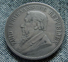 [361] South African 5 Shilling Silver Coin, 1892, Kruger, Single Shaft, KM 8.1