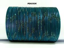 Indian Bridal Peacock Colored Glitter 36pcs Bangles Set Size 2.6 ,2.8 Jewelry