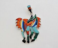 CHIC HANDCRAFTED HORSE TURQUOISE/MULTICOLOR INLAY IN .925  SILVER PENDANT