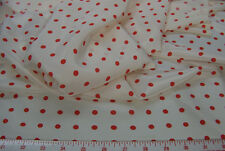 1/2 yd Stylecrest Silk Crepe de Chine Red Polka Dot Fabric 231