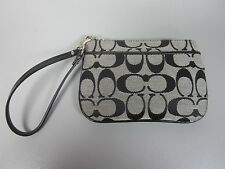 COACH F45659 Signature Silver/ Black/ White Outside Pocket Small Wristlet, NWT