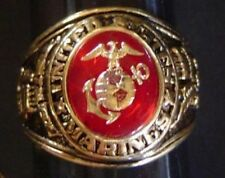 USMC ring with insignia, size 10, gold plated, with gift box