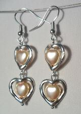 Dangle earrings - heart glass pearl, heart frame, peach