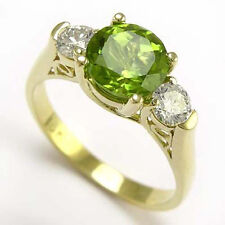 18 K SOLID YELLOW GOLD PERIDOT 0.54 ct DIAMOND ANNIVERSARY RING #R698.