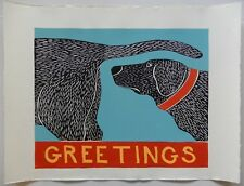 "STEPHEN HUNECK  - WOODCUT - ""GREETINGS"" - FOLK ART- A CLASSIC - 1996 - DOG BUTT"