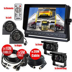 "10.1"" Quad Monitor Split Screen 4PIN 4X Sharp CCD Camera Front/Rear/Sides Truck"