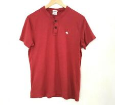 Abercrombie And Fitch Men's Size Small Henley Dark Red Muscle Tee A+F