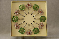 Enamel Metal Shower Curtain Hooks Flower Leaf Floral Shabby Cottage Chic NIB 12P