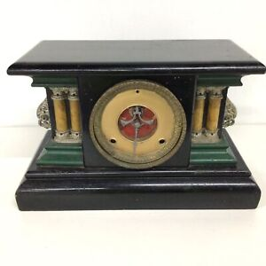Antique Unbranded Wooden Mantel Clock #418
