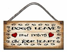 SHABBY CHIC FUNNY WOODEN SIGN DOGS LEAVE PAW PRINTS DOG GIFT PRESENT 90