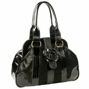 Womens Luxury Pony Skin & Patent Leather Handbag