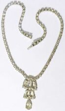 collier ancien bijou vintage cristaux swarovski diamant couleur or blanc * 4940