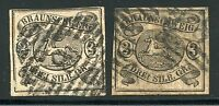 GERMANY STATES BRUNSWICK SCOTT# 10 MICHEL# 8 USED LOT OF 2 AS SHOWN