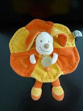c14- DOUDOU ET COMPAGNIE PLAT ROND CHIEN PATOU orange  jaune - EXCELLENT ETAT !