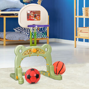 HOMCOM 2 in 1 Sport Center Basketball Hoop Stand Soccer Net Toddler Activity Toy