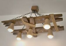 Wooden ceiling light with night light and shades of jute rope, fixture, lamp