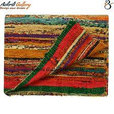 Indian Rag Rugs Fair Trade Handmade Hand Woven Carpet Striped Yoga Mats 3x5'