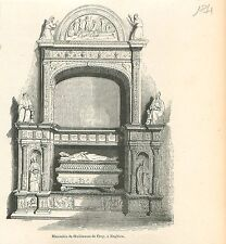 Mausolée de Guillaume de Croÿ à Enghein Wallonie GRAVURE ANTIQUE OLD PRINT 1880