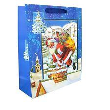 1 X Petit Bleu Luxe Noël Sac Cadeau -3d Décorative Pailleté Sac en Papier