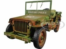US ARMY WWII JEEP MILITARY POLICE GREEN 1/18 WEATHERED AMERICAN DIORAMA 77406 A