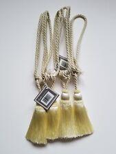 Set of 4 Large Tassel Drapery Custom Tie Backs in Light Gold/Yellow