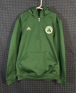 Boston Celtics ADIDAS Youth L 14 16 NBA Pullover 1/4 Zip Sweatshirt Hoodie Green
