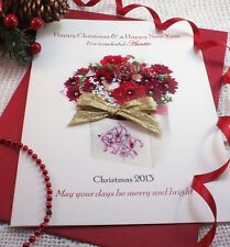 Large Personalised Poinsettia Bouquet Christmas Card