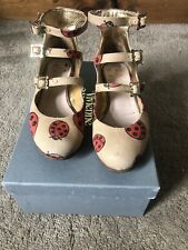 VIVIENNE WESTWOOD WALLACE THREE STRAP BUCKLE UP SHOES SIZE 5 LADYBIRD PRINT
