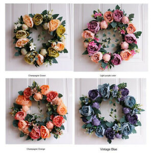 Artificial Flower Topiary Wreath Round Garland Door Wall Hanging Wedding Decor