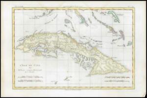 1780 Antique Map L'ISLE DE CUBA West Indies Bahamas Florida Quays Bonne (BMii/1)