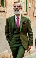 Men Green Plaid Suit Wool Blend Check Tan Tweed Groom Tuxedos Vintage Prom Suit