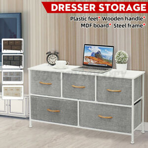 Bedroom Storage Dresser Tower Shelf Organizer Bins Cabinet with 5 Fabric Drawers
