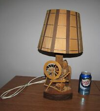 Vintage Folk Art Carved Wood Woman Dog Spinning Wheel Signed Berthier Table Lamp