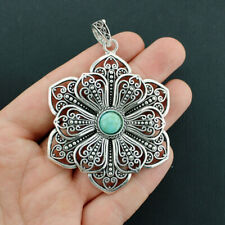 Filigree Flower Charm Antique Silver Tone Imitation Turquoise Stone - SC6513