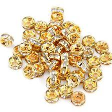 Lotto Stock 50 perline perle oro dorate 6mm con strass HK