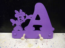 wooden coat pegs hooks hangers personalised childrens initial with minnie