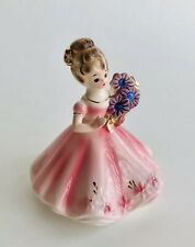 Vintage Josef Original September Birthday Girl Figurine Blue Sapphires Adorable!