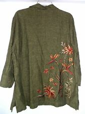 NEW Koret Shirt Tunic Top~Floral Embroidery Back~OliveGreen Linen/Rayon~L~14 16P