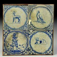 17th century Antique Dutch blue glaze tiles (4) Pikeman & Hunting dog sheep bird
