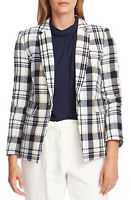 MSRP $159 Women's Vince Camuto Spring Plaid One-Button Blazer White Size 4