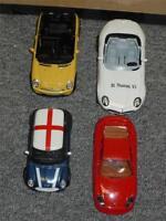 Lot 4 Diecast Cars British Mini Cooper Burago, Porche 911, Welly Cabrio, BMW Z8