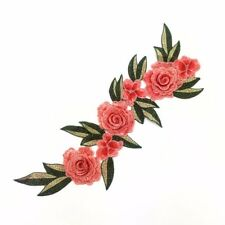 """Embroidered Floral 3D Applique Coral Red Rose Patch Craft Motif 15"""" (Bl125)"""